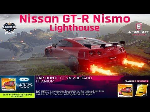 Asphalt 9   Car Hunt: Icona Vulcano   How to Beat 44S with Nissan GTR Nismo 4⭐️   43.821 Lighthouse
