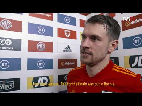 WALES v HUNGARY - FAWTV AARON RAMSEY REACTION