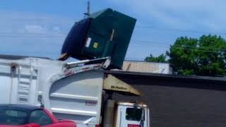 Stupid garbage truck driver fails emptying trash can