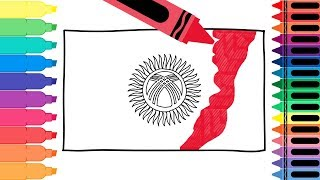 How to Draw a Kyrgyzstan Flag - Coloring Pages for kids - Draw the Kyrgyzstani Flag | Tanimated Toys