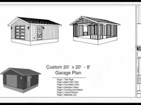 20 39 x 20 39 8 39 garage plan youtube for 20 x 26 garage