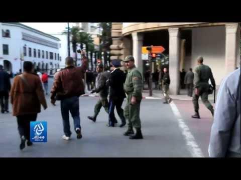 """Intervention contre une manifestation du """"20 février"""" à Rabat"""