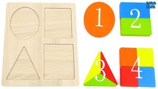Learn Colors for Kids|Halves and fourths Shapes|Learning Geometric Shapes|Count Number 1 to 4 kids