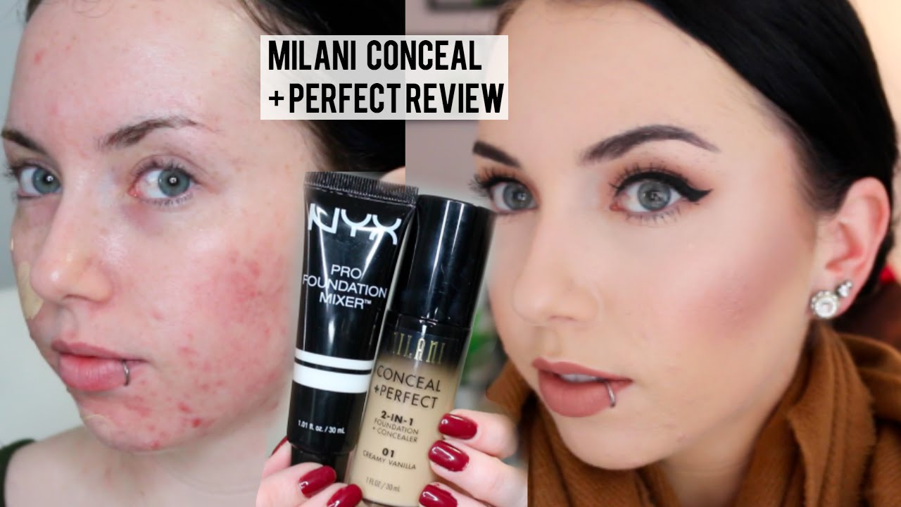NEW MILANI CONCEAL + PERFECT 2 in 1 Foundation {First Impression Review & Demo} Pale Acne prone skin - YouTube