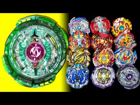 Incredibly beautiful bey: green TWIN NEMESIS. Beyblade Burst games with 12 best beys