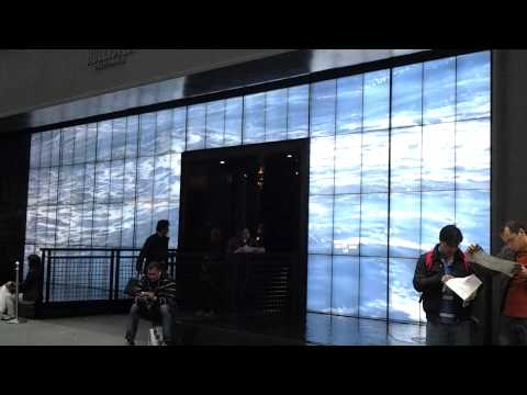 Beautiful video surf installation at Hollister storefront, Fifth Avenue, Manhattan