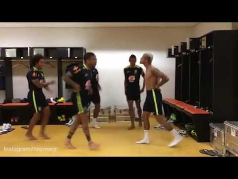 Neymar and Marcelo and Brazil national teammates do the runnng man