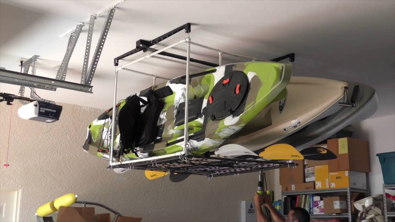 Garage Kayak Hoist Storage Solution - YouTube
