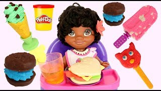 Making Play-doh Frozen Treats & Deserts with Toy Set, Baby MOANA & Maui