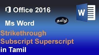 Superscript Subscript  Strikethrough MS Word 2016 in Tamil