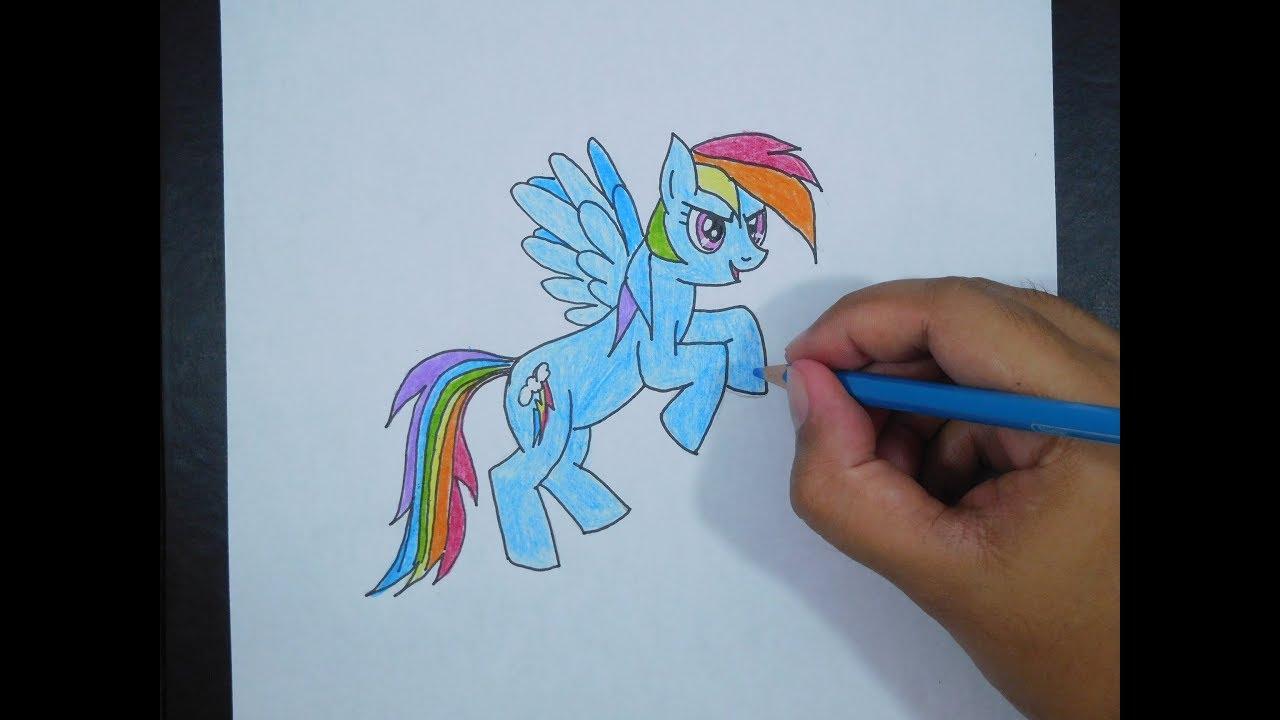 Cara Menggambar My Little Pony Rainbow Dash How To Draw My Little Pony Rainbow Dash Youtube