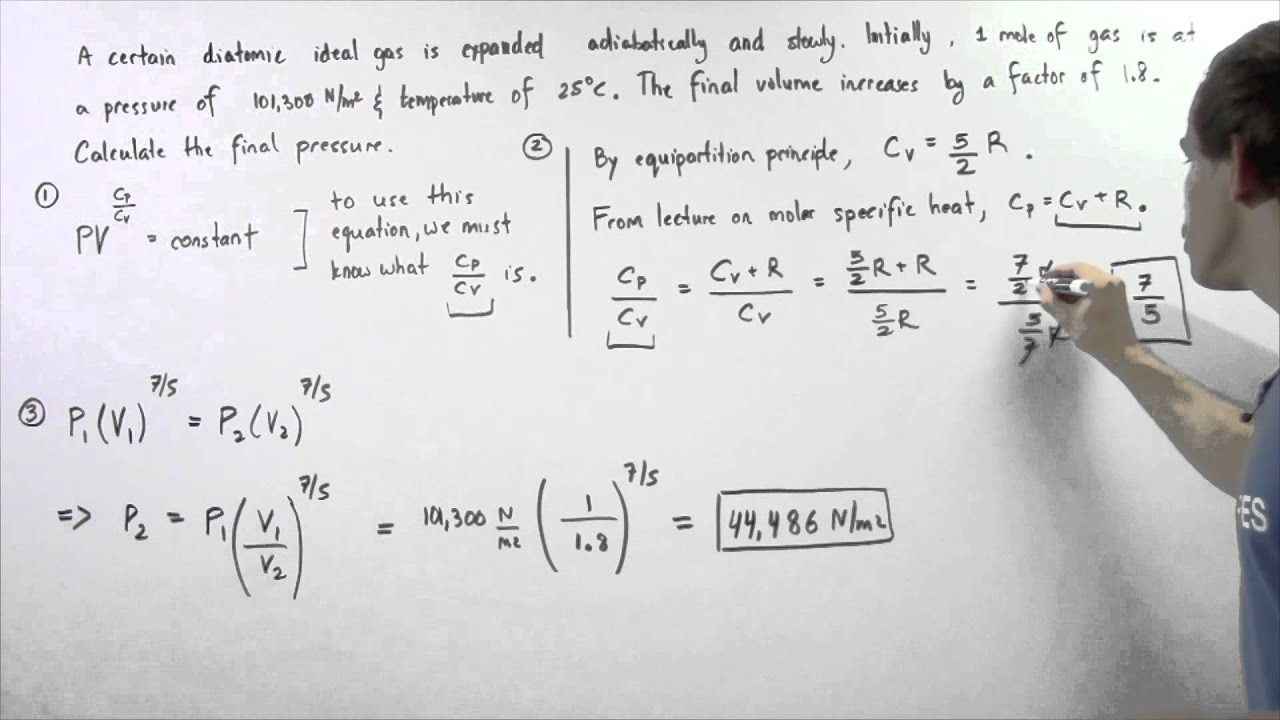 Adiabatic Expansion of Diatomic Ideal Gas Example - YouTube