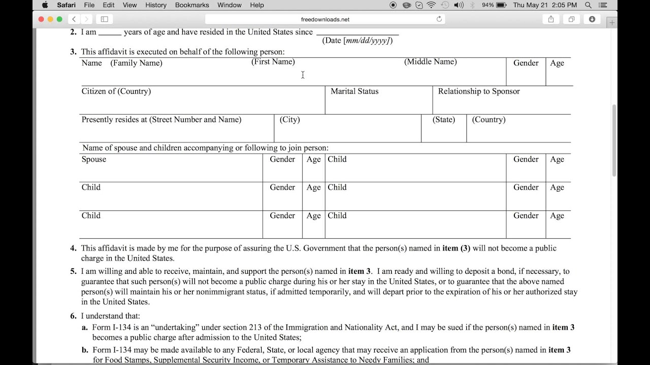 Lovely How To Fill In Form I 134 | USCIS Affidavit Of Support