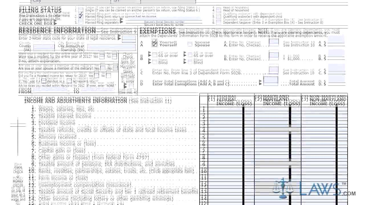Form 505 Individual Income Tax Return Nonresident - YouTube