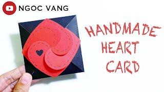 THIỆP GHÉP 4 TRÁI TIM / Handmade heart card - NGOC VANG