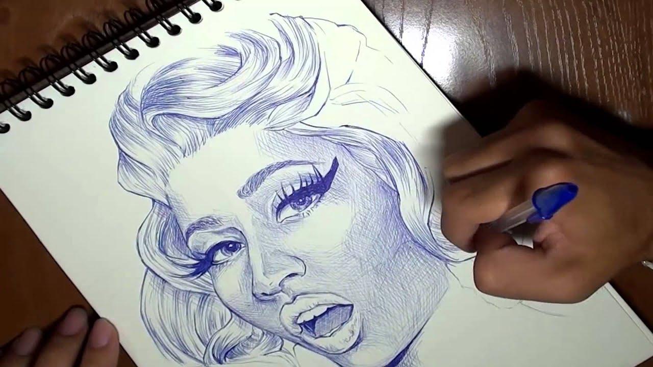 como dibujar a 4 artistas famosas - YouTube