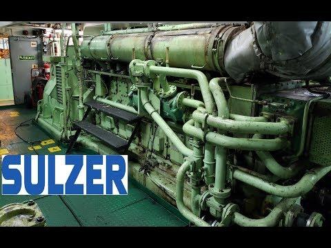 9 Cylinder Sulzer Diesel Ship Generator Running