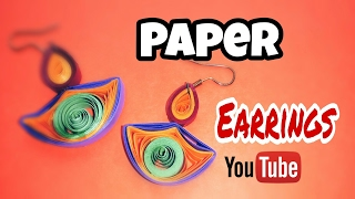 How to make a paper earrings-Paper earrings tutorials-Quilling paper Art-#9