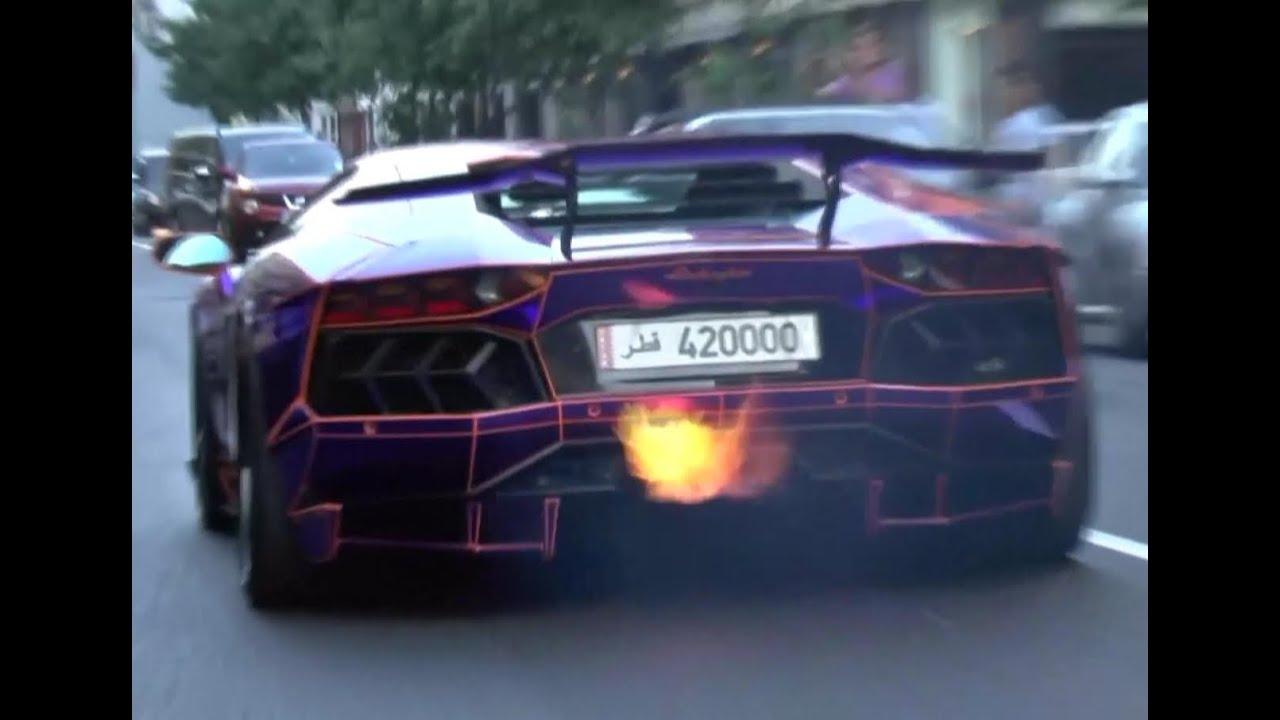 Lamborghini Aventador Spitting Fire In London Purple Tron Youtube