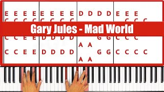 ♫ EASY - How To Play Mad World Gary Jules Piano Tutorial Lesson! - PGN Piano