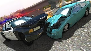 Insane Police Chases in The Biggest Map! - BeamNG Gameplay & Crashes - Police Escape