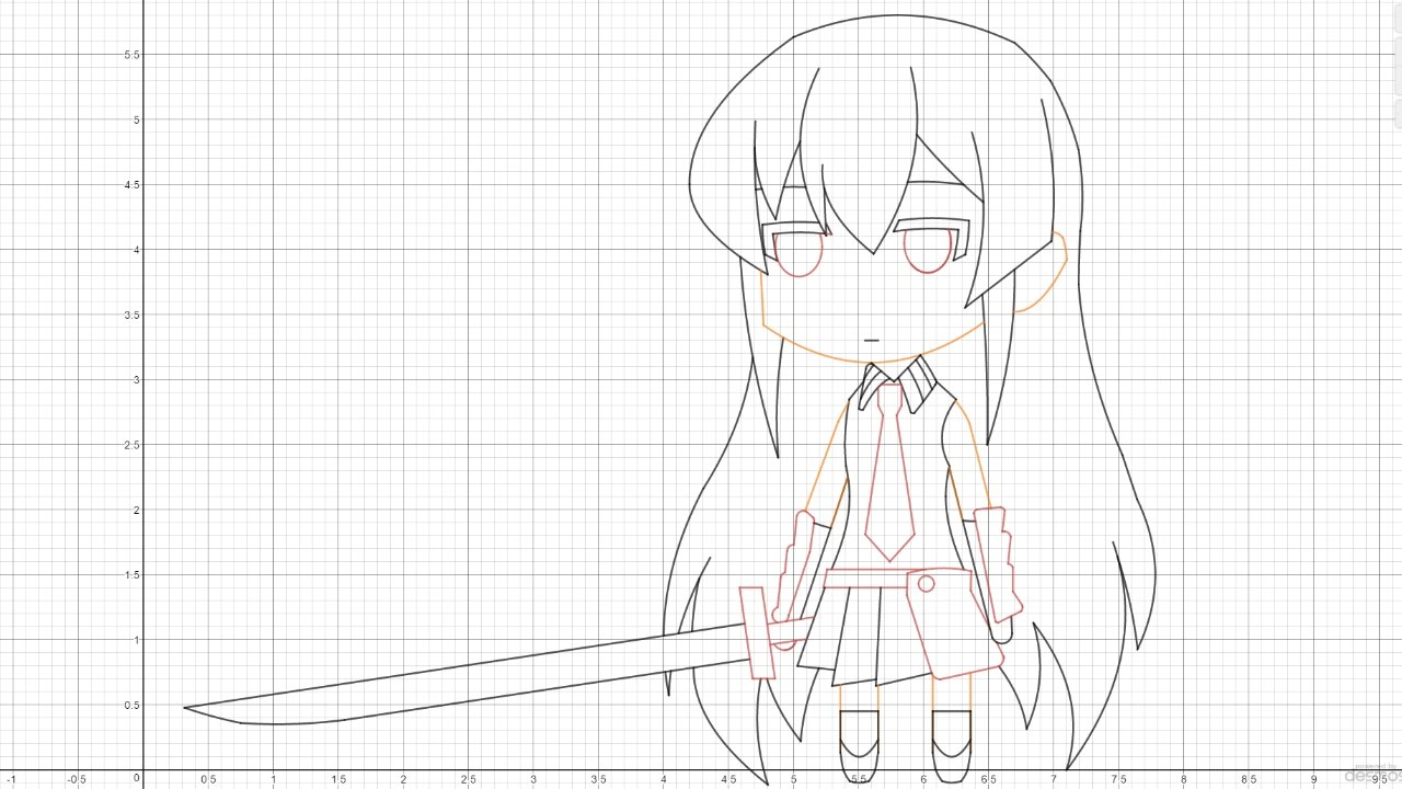 『Akame Chibi』-Desmos Graphing Calculator Art [Speed Draw