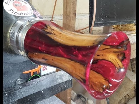 Red Resin And Wood - Swamp Stick Vase