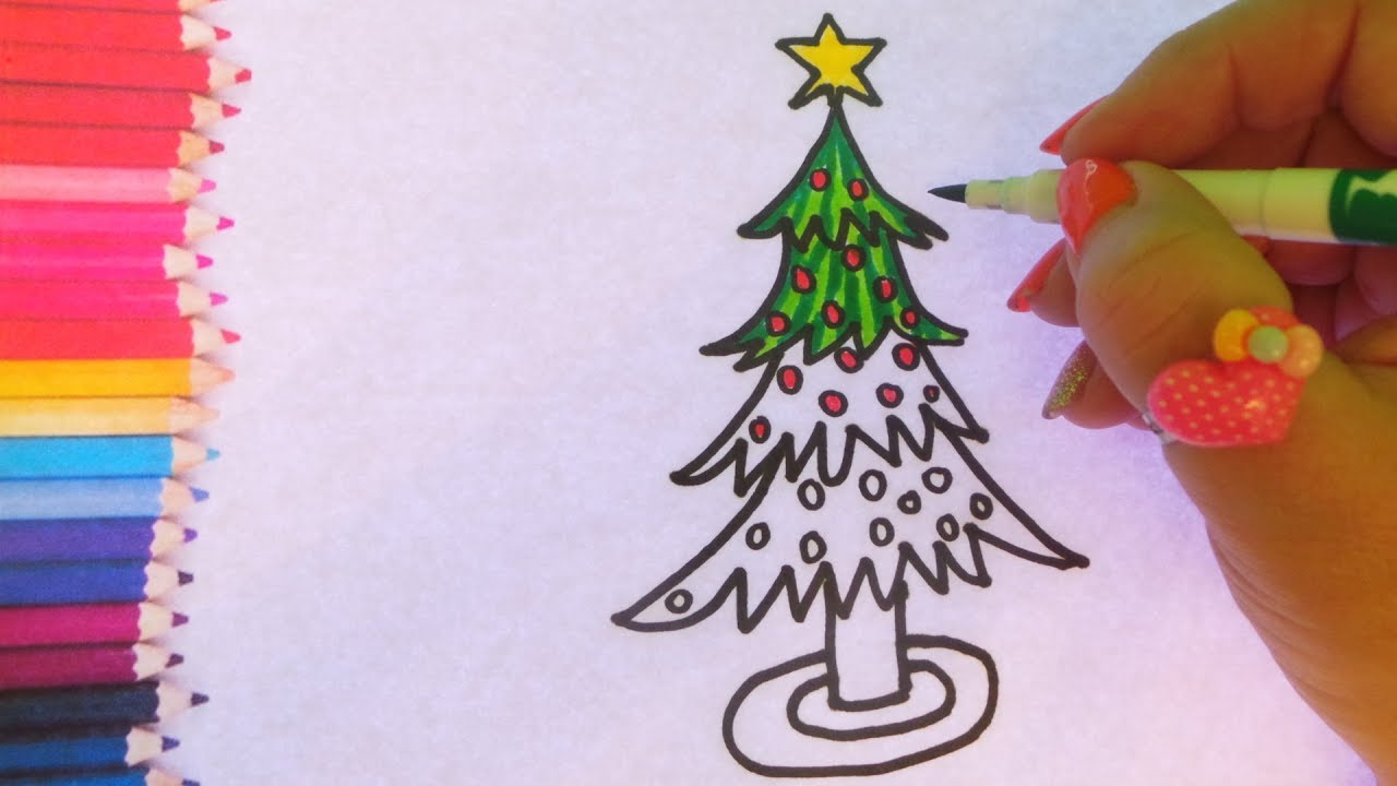How To Draw The Best Christmas Tree And Colouring Page For Kids Youtube