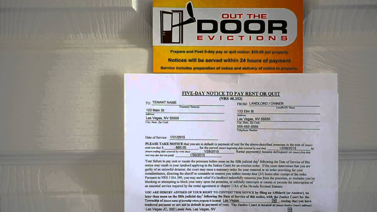 Las Vegas Eviction Services - 5 Day Pay or Quit Notice & Las Vegas Eviction Services - 5 Day Pay or Quit Notice - YouTube