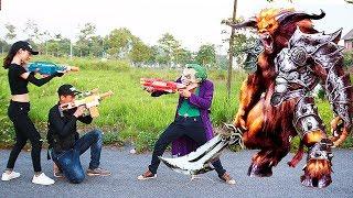 Superhero Action S.w.a.t & Pretty Girl Nerf Guns Joker Produce Zombies &