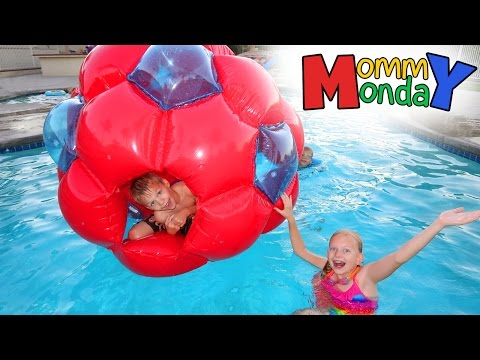 Giant Red Ball Swimming Party || Mommy Monday