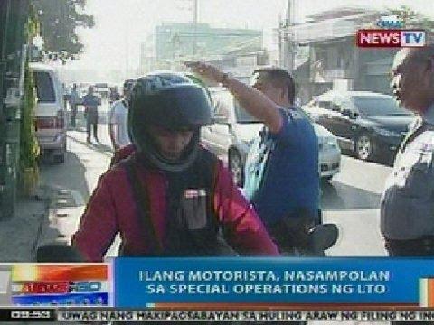 NTG: Ilang motorista, nasampolan sa special operations ng LTO sa Pasig
