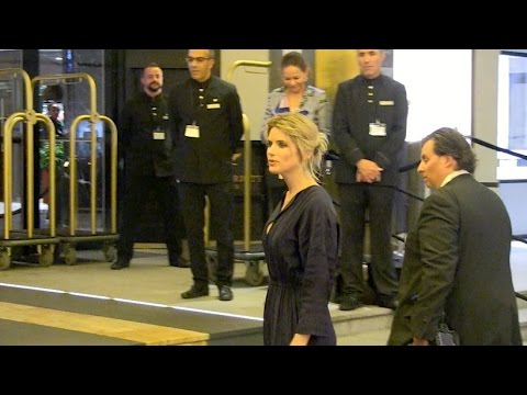 Alice Taglioni coming in and out of the Marriott Hotel in Cannes