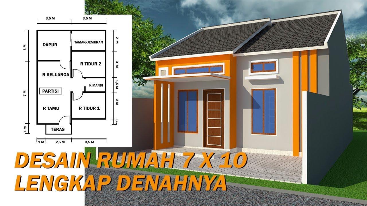 Desain Rumah Ukuran 7 X 10 Lengkap Dengan Denahnya Youtube