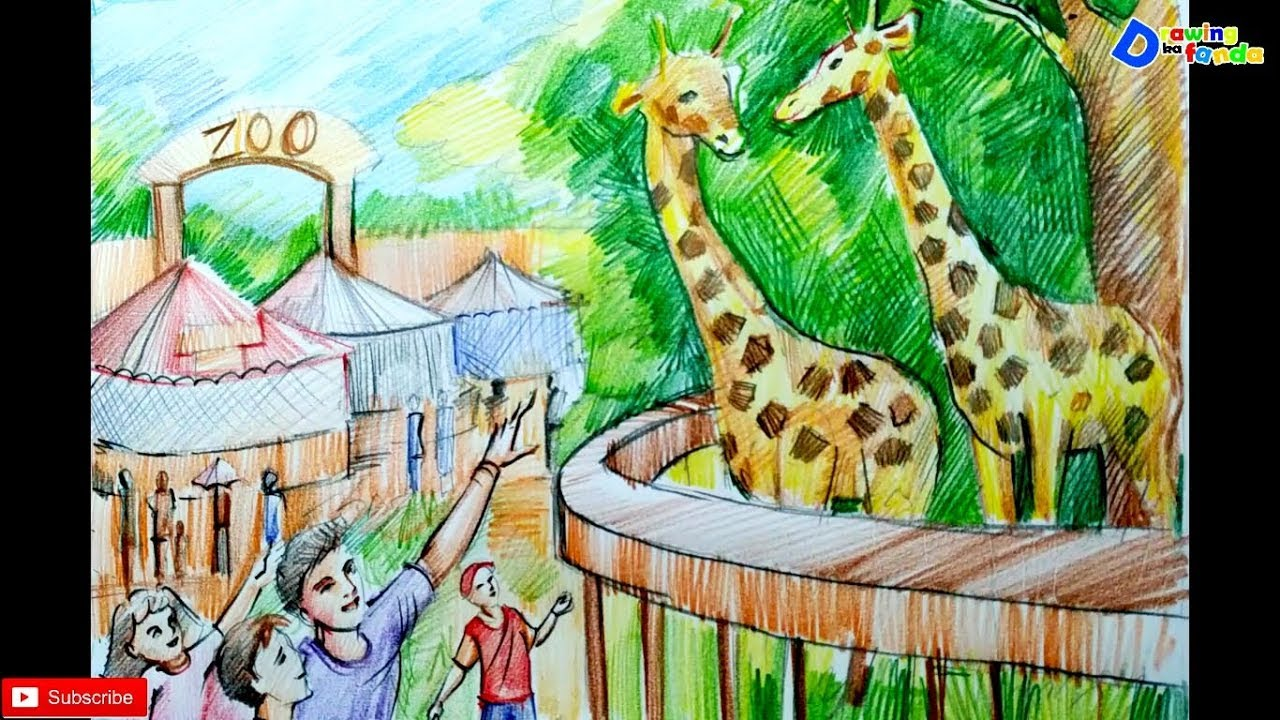 How to draw zoo scenery for kids