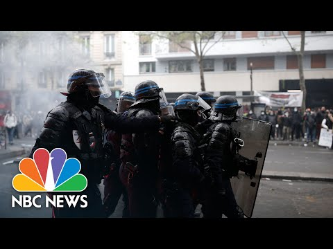 Violent Scenes in France As Police and Protests Clash Over May Day Rallies | NBC News