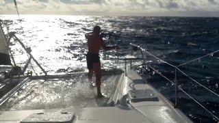 Swimming in the Atlantic. Don`t Panic Ocean 2015. Catamaran
