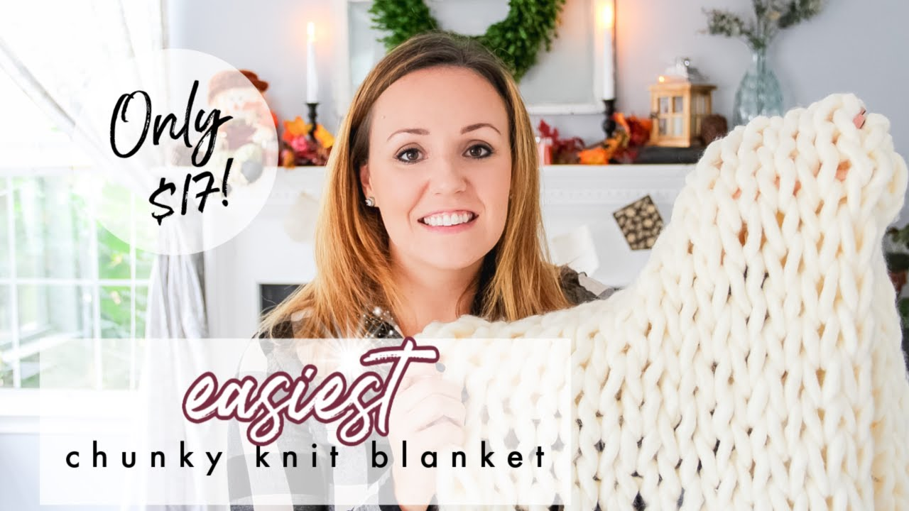 How to make DIY chunky knit blanket (arm knit or finger knit