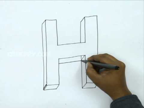 How To Draw H In 3d