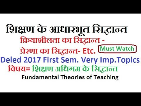 Fundamental Theories of Teaching, Teaching Video For Deled 2017 First sem
