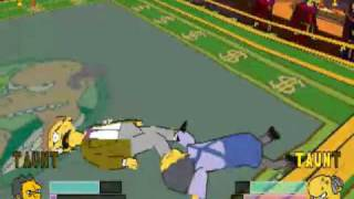 Simpsons Wrestling, PSX, Defender Circuit. Fight 8 - Moe vs Smithers and Burns
