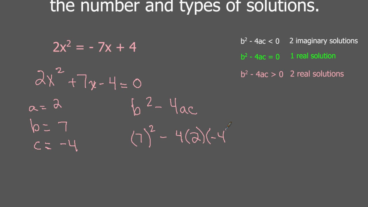 The Discriminant And 2 Real Solutions Examples Youtube