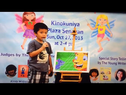 6 years old kid won first prize for English story telling competition.