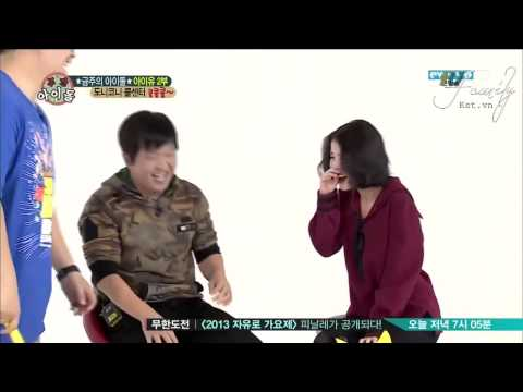 The reaction of IU and GD when they were beaten by hammer toy in Weekly Idols :)))