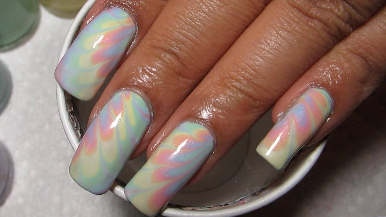 Easter Spring Pastel Rainbow Water Marble Nail Art