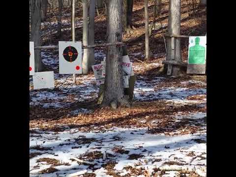 Wife shooting xd-9 at the winter gun range