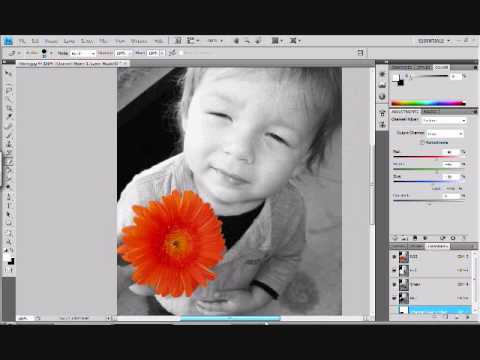 Photoshop how to make one object in a picture color and the rest black and white sin city effect