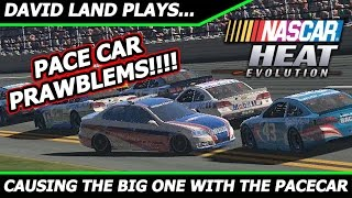 nascar heat evolution causing the big one with the pace car