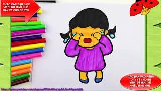 Bé tập vẽ bé gái khóc nhè với mẹ