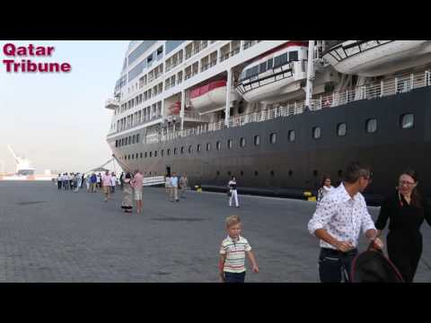 The luxury cruise ship Azamara Journey docked in Doha Port